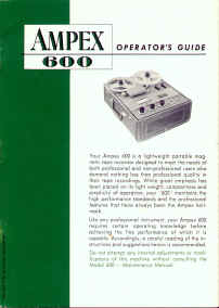 Ampex 600 Oper Manual Cover